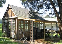 Covered porch addition ~ from Hartwood Roses greenhouse made from salvaged windows.