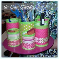 This TIN CAN CADDY is great for #organizing your #craft #supplies, #scrapbooking & #StampinUp #stamping #supplies - easy to #diy