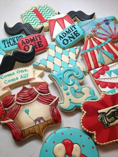 Teal and red AND cool cookies!!!  #socialcircus