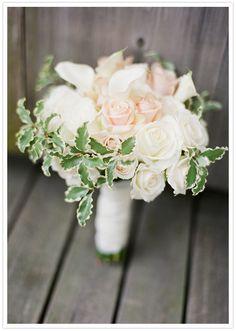 white calla lily, blush and cream roses bouquet