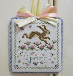 Finished Completed Just Nan Cross Stitch Ornament Hanger Spring | eBay