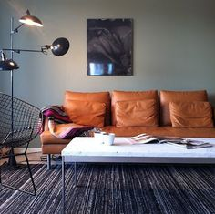 grey wall and tan leather: good colors