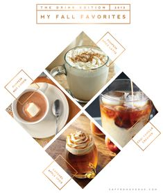 Saffron Avenue - Fall Favorites, Drink Edition  blog entry layout... she's always so clever with layout design graphic, fall drinks, layout design, drinks fall, drink edit