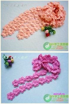Pretty Crochet Flower Scarf- with Pattern/Diagram.