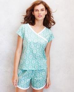 Asian Wrap Cap-Sleeve Pajamas: Garnet Hill