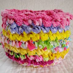 Happy Scrappy Rag Basket  Crochet Fabric by NewEnglandQuilter