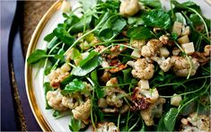 Roasted cauliflower salad with watercress, walnuts and Gruyère. Photo: Andrew Scrivani for The New York Times