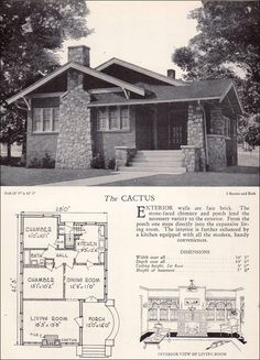 Arts & Crafts, Craftsman, & Mission Style •~• 1928 Home Builders Catalog, 'The Cactus' bungalow