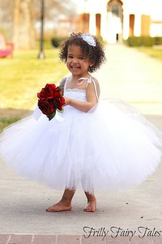 White Lace Flower Girl Dress by FrillyFairyTales on Etsy, $95.00