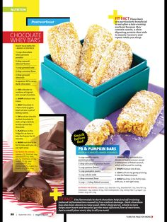 2 Recipes  1) PB & Pumpkin Bars  2) Chocolate whey bars