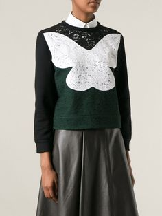 Shop Nº21 Lace front Sweatshirt from Farfetch