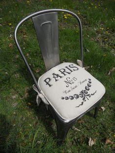 French Script Chair Pad - www.GreenMountainBoho.com