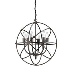 Part demonstration of symmetry and part industrial chic, narrow bands of metal orbit around six chandelier bulbs on this remarkable-looking pendant lamp. Hang just one for the reading nook or double it up for some stellar dining room light.