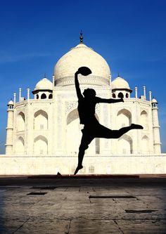 Jump in front of Taj Mahal, Agra in India