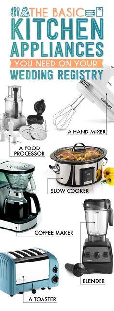 Basic Appliances. The Essential Wedding Registry Checklist For Your Kitchen