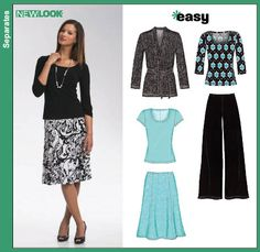 New Look 6735 Misses Knit Cardigan, Tops, Pants and Skirt
