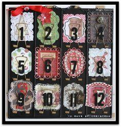 12 Days of Christmas Vintage Calendar by @Holly Simoni using #Want2Scrap, @Spellbinders, #JustRite Stampers, #My Mind's Eye