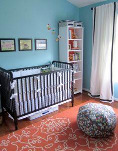 Ebony finish in blue room with orange notNeutral rug