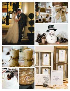#Winter #Wedding #WellWed #Pinecones #burlap