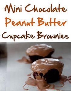 Mini Chocolate Peanut Butter Cupcake Brownies!