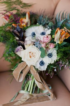 Romantic styled #Bouquet #Anemone | The whole wedding is so romantic! On #SMP: http://www.stylemepretty.com/2013/03/12/long-island-city-wedding-from-mademoiselle-fiona-firefly-events/ Mademoiselle Fiona Photography