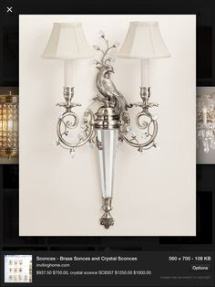 Crystal wall sconce battery operated on pinterest - Battery operated crystal wall sconces ...