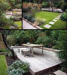 modern, deck, layered, paver path, grass, lawn, geometric, outdoor room, outdoor dining