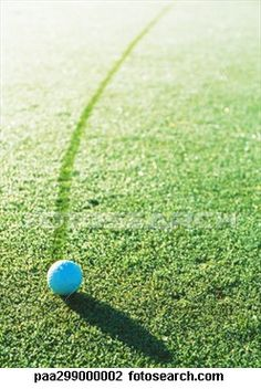 Golf ball on dew-covered green