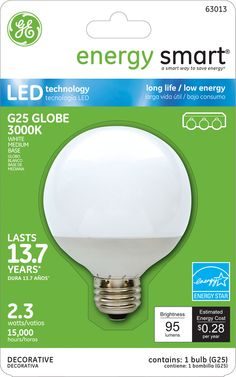 GE Energy Smart 10W Replacement (2.3W) Globe G25 LED Bulb (Warm, White, Energy Star) $19.95
