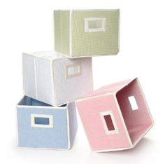 storage baskets... pink, white, and sage?