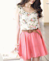 Floral top, brown waist belt, pink skirt