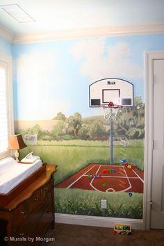Basketball court on pinterest outdoor basketball court for Basketball court mural