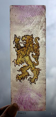 Stained Glass Window piece, Heraldic, Lion, Rampant, Hand Painted, kiln fired, new fragment, Ref: 10M23