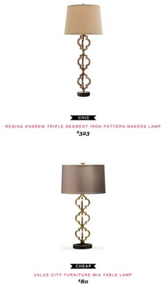 Regina Andrew Triple Segment Iron Pattern Makers Lamp $323 vs Value City Furniture Mia Table Lamp $80