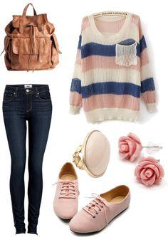 Striped Oversized Knit Sweater + Dark Skinny Jeans + Beige Oxford Sneakers + Rose Stud Earrings + Statement Ring + Leather Backpack