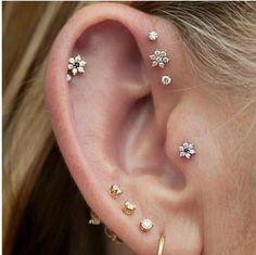 fashion, piercing ideas, double helix, ear piercings, stud, earring, gold jewelry, sweet nothings, little flowers