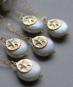 Beach Wedding Necklaces, Freshwater Pearls and 14k gold fill Sand Dollar Charms $29.25 each