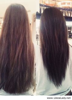 V-layered haircut - before and after, pinning for when my hair gets this long or close