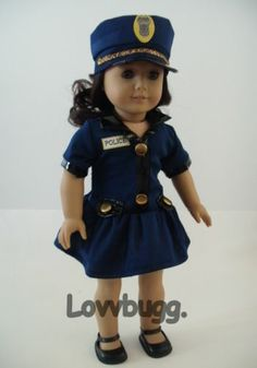 """Police Woman + Hat for 18"""" American Girl Doll Clothes Top Selection! Found!"""