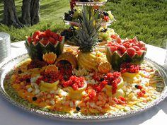 food displays, buffet, wedding receptions, fruit platters, reception ideas, wedding reception centerpieces, fruit displays, outdoor weddings, fruit trays