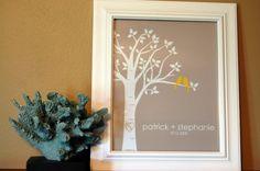 Bridal Shower Gift  Personalized Custom Love Birds by karimachal, $18.00