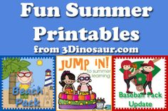Summer Printables Round Up from 3dinosaurs.com