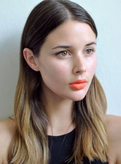 { bare skin + orange lips }