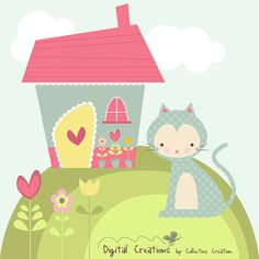 Miss Kitty's House Digital Clipart Set - Great for Scrapbooking, Card Making and General Paper Crafts