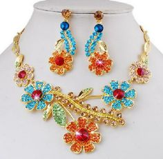 Floral Bouquet Crystal Jewelry Set