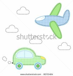 stock vector : childish aircraft and carfor applique