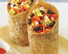Black Bean, Avocado, Brown Rice, and Chicken Wrap Recipe Superfast and Satisfying favorite! #wrap #chicken #dinner #burrito