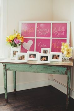 Cute bridesmaid display at a bridal shower! Or you could do this at your wedding reception, too!l
