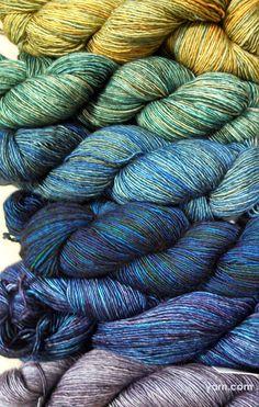 Pretty progression of Madelinetosh Tosh Merino Light colors. #yarn
