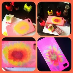customisation DiY iphone case neon nail polish gradient. this is really cool!